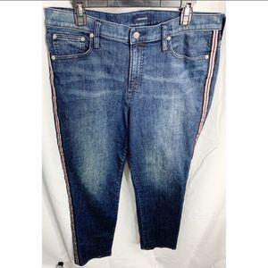 J. Crew vintage straight ribbon trim jeans 32 32t